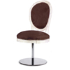 chaise de style sur pied central chromé collection classic louis 16 contemporain simili cuir chocolat lavable boiserie patinée laquée assise ronde